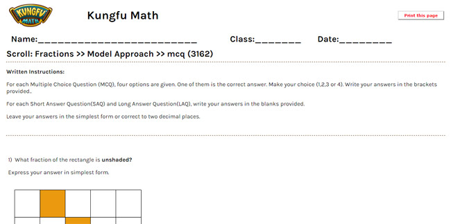 Math Grade 3 Fractions Worksheets and Resources - Singapore Math