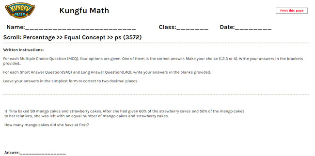 Math Grade 5 Percentage Worksheets and Resources Singapore Math – Math Percentage Worksheets